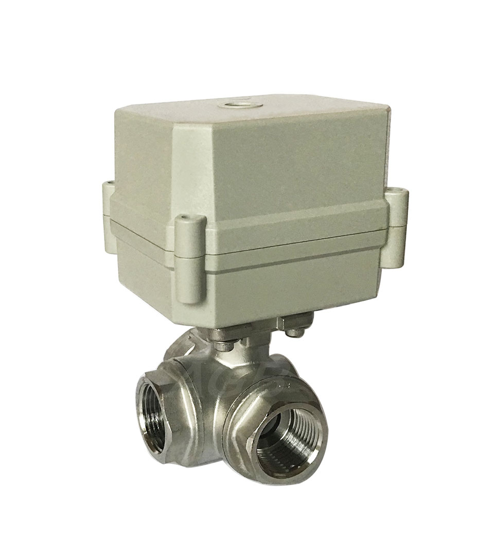 3-Way Stainless Steel Ball Valve L Configuration With Electric Actuator
